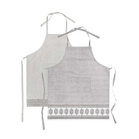 Meena Apron  - Grey with leaf border (Pictured at the front)